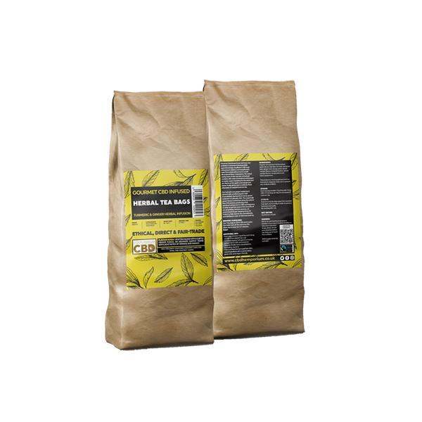 Equilibrium CBD Gourmet Herbal 100 Tea Bags Bulk 340mg CBD – Ginger & Turmeric
