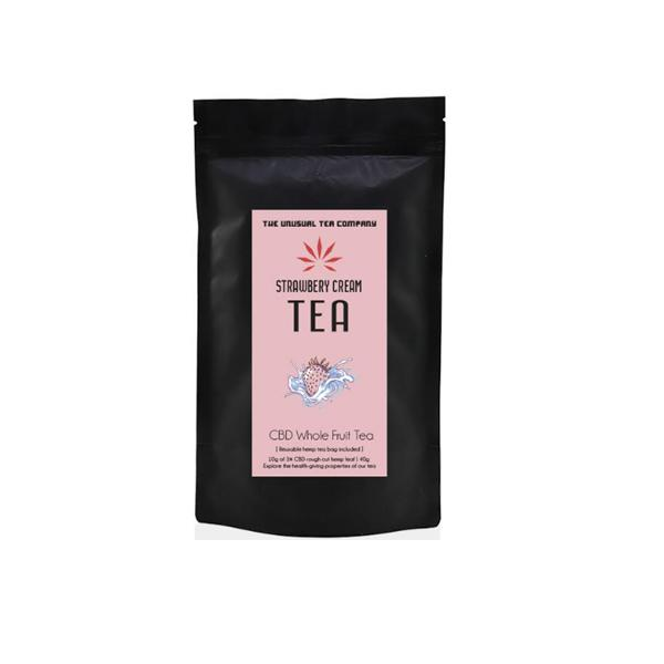 The Unusual Tea Company 3% CBD Hemp Tea – Strawberry Cream 40g